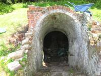 Looking down kiln entrace