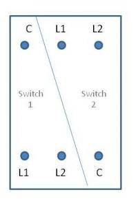 2 gang switch layout
